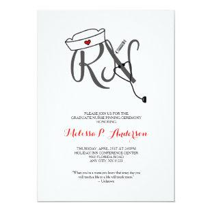 RN Pinning Ceremony Invite, fun nurse graduation Invitation
