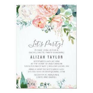 Romantic Peony Flowers Let's Party Invitation