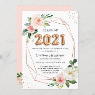 Rose Gold Balloon Font Class of 2021 Graduation Invitation