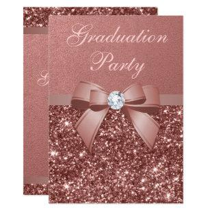 Rose Gold Blush Glitter Bow Graduation Party Invitation