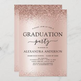 Rose Gold Blush Pink 2021 Graduation Party Glitter Invitation