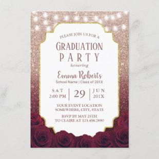 Rose Gold & Burgundy Red Glitter Ombre Graduation Invitation