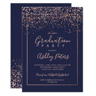 Rose gold confetti navy blue typography graduation invitation
