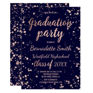 Rose gold confetti splatters navy graduation party invitation