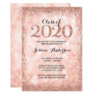 Rose Gold Faux Glitter Lights 2020 Graduation Invitation