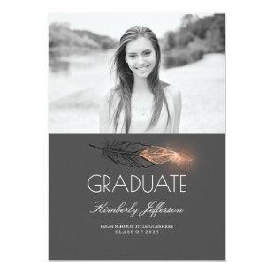 Rose Gold Feather Glitter Photo Graduation Party Invitation