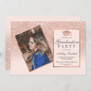 Rose gold frame blush ombre photo graduation invitation