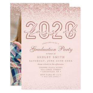 Rose Gold Glitter Blush Pink Photo 2020 Graduation Invitation