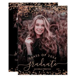 Rose gold glitter confetti 3 photo graduation invitation