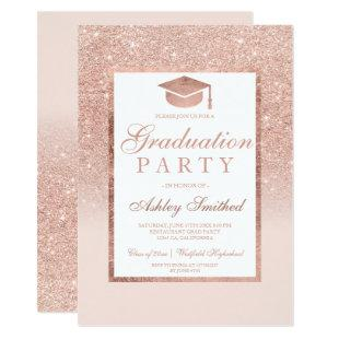 Rose gold glitter elegant Graduation cap party Invitation
