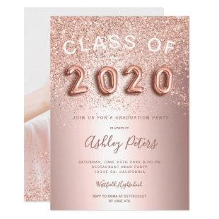 Rose Gold glitter foil photo class graduation Invitation