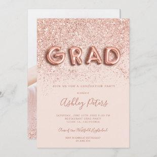 Rose Gold glitter letters blush photo graduation Invitation