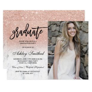 Rose gold glitter marble graduate typography invitation