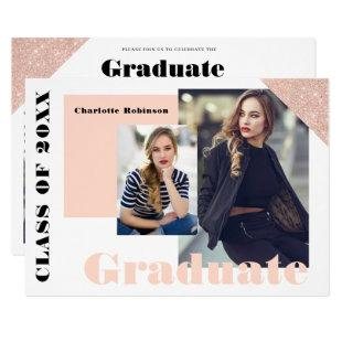 Rose gold glitter minimalist pink photo graduation invitation