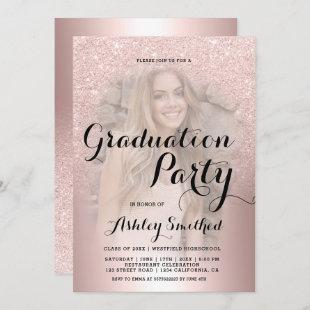 Rose gold glitter ombre metallic photo graduation invitation