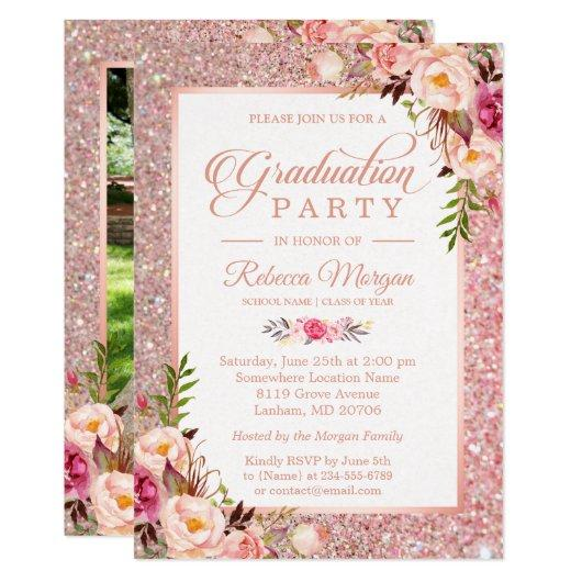 Rose Gold Glitter Pink Floral Graduation Party