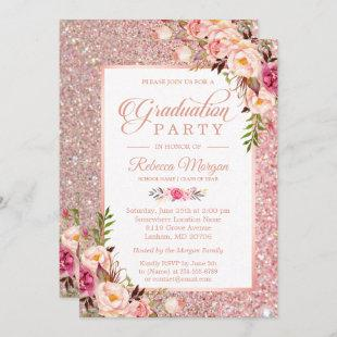 Rose Gold Glitter Pink Floral Graduation Party Invitation