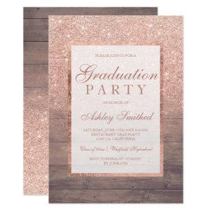 Rose gold glitter rustic wood Graduation party Invitation