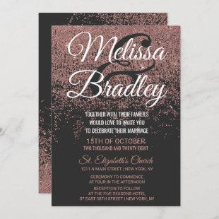 Rose Gold Glitter Sparkles Black Wedding Invitation