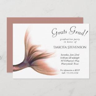 Rose Gold Mermaid Tail | Luxury Glam Graduation In Invitation