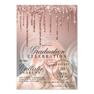 Rose Gold Metallic Glitter Drip Photo Graduation Invitation