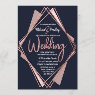 Rose Gold Navy Blue Mauve Geometric Wedding Invitation