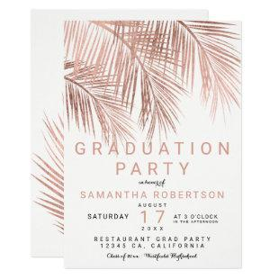Rose gold palm tree elegant graduation party invitation