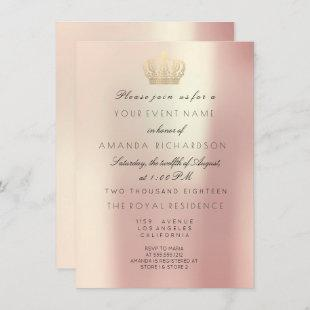 Rose Gold Pearly Crown Royal Glitter 16th Bridal Invitation