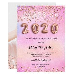 Rose Gold pink holographic photo graduation 2020 Invitation