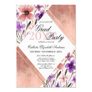 Rose Gold Pink Purple Flower Watercolor Graduation Invitation