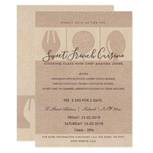ROSE GOLD SPOON FORK COOKERY CLASS INVITE TEMPLATE