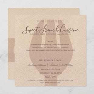 ROSE GOLD SPOON FORK COOKING CLASS INVITE TEMPLATE