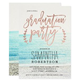 Rose gold typography beach graduation party invitation
