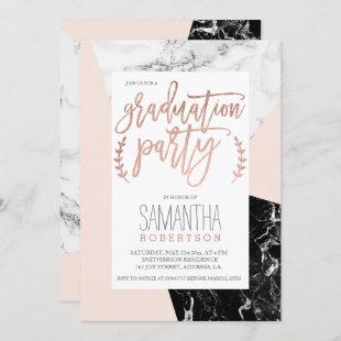 Rose gold typography blush marble graduation party invitation