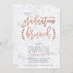Rose gold typography marble graduation brunch