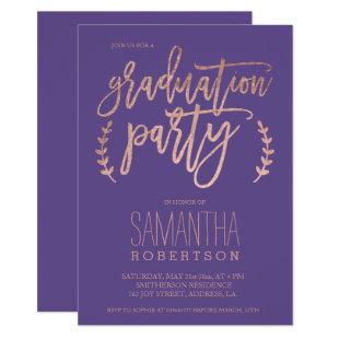 Rose gold typography purple graduation party 2 invitation