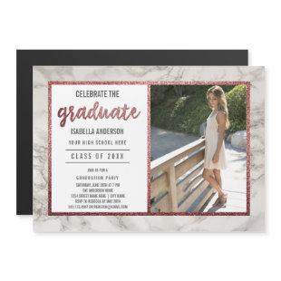 Rose Gold & White Marble | Photo Graduation Party Magnetic Invitation