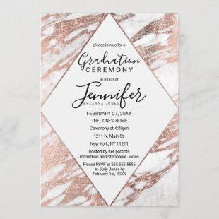Rose Gold White Modern Marble Graduation Invitation
