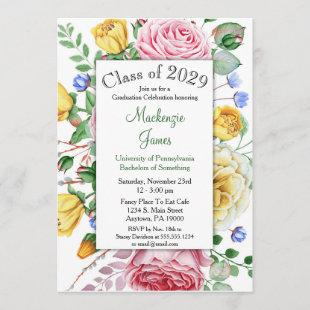 Roses Pink Yellow Floral Graduation