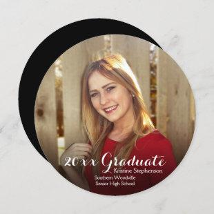 Round Circle Photo Shading Custom Graduation Invitation