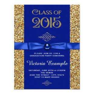 Royal Blue and Gold Graduation Announcements