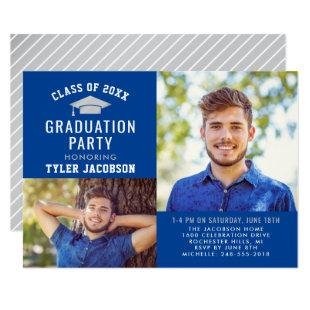 Royal Blue and Silver 2020 Graduate Party Photo Invitation