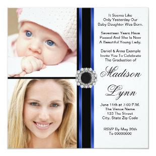 Royal Blue Then and Now Photo Graduation Invitation
