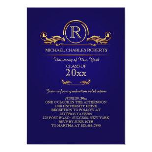 Royal Golden Monogram Blue Graduation Invitation