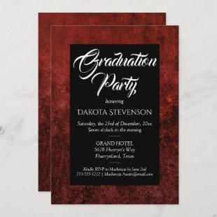Ruby Crimson Red | Classic Grunge Graduation Party Invitation