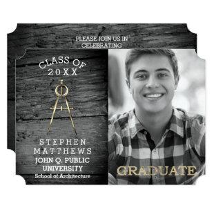 Rustic Architect Architecture Compass Graduation Invitation