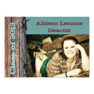 Rustic barbed wire graduation announcement