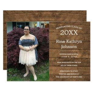 Rustic Barnwood Photo Graduation Announcement
