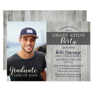 Rustic Beach Nautical Photo Graduation Party Invitation