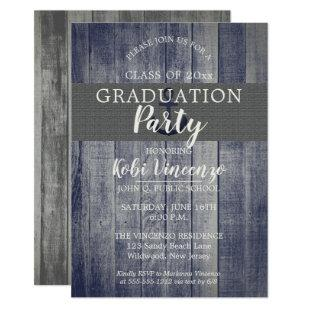 Rustic Beach Wood Nautical Graduation Party Invitation